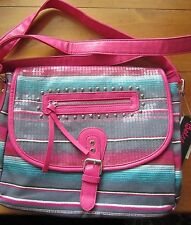 BETSEY JOHNSON TEAL & PINK STRIPED SEQUIN CROSS-BODY MESSENGER TOTE PURSE SET