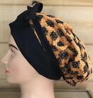 Ponytail Surgical Scrub Cap~Ladies Reversible Handmade-Orange~Halloween~Pumpkin
