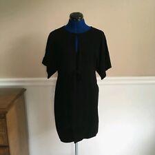 theory womens s black blouson dress merino wool career winter party short sleeve