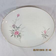 "Golden Rose China Platter Oval 14"" White Pink Rose bouquet bud Gold Trim"