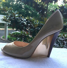 """$800 Size 7 Casadei Taupe Patent Leather Peep Toe Mirror Blade Wedge 4.5"""" Heel"""