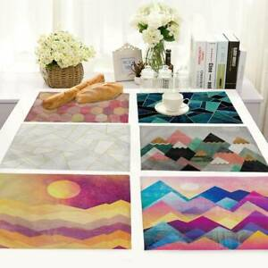 Cotton Linen Colorful Geometric Placemat Home Dining Kitchen Table Mat Cup Pad