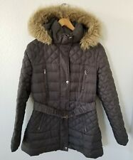 Victoria's Secret MODA International down fill gray puffer parka faux fur jacket