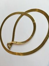 """14 K Thick herringbone Solid yellow Gold Necklace 18"""" great Gift"""