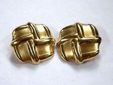 14K Yellow Gold Pinwheel/Basket Weave Satin Polished Ribbed Clip Earrings