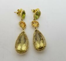 Citrine, Peridot, Clear Sapphire, and 18k Gold Vintage Drop Earrings