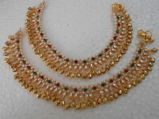 Indian Bead Ankle Bracelet Pearl Anklet Payal Ghungroo Gold Tone Jewelry Pajeb