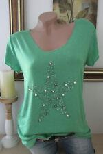 Basic T-Shirt Borchie Strass Stella Vintage Lurex-Kanten Smeraldo Taglia Unica