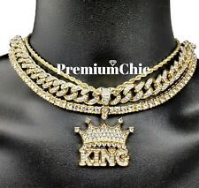 4pc Set Cuban Choker Tennis Chain Rope Chain Crowned King Pendant HipHop Jewelry