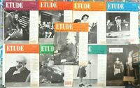Lot of 9 Etude Magazines 1954 Issues