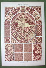 ROMANESQUE Stone Mosaics England France Germany - 1880s Color Litho Print