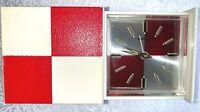 VINTAGE BULOVA RED WHITE CHECKEREDD CASE WIND UP TRAVEL ALARM CLOCK JAPAN