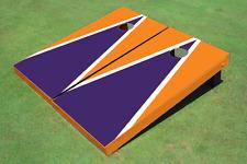 Purple And Orange Matching Triangle Custom Cornhole Board