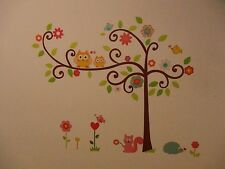 tree hedgehog cat owl on branch Kids  Child Baby DIY removable Wall Decals