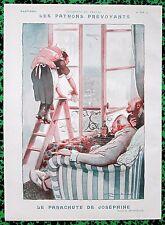 MENDOUSSE Original 1925 Vintage French Art Print LADY WINDOW CLEANER PARACHUTE!