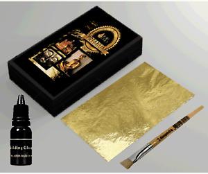200 sheets  Gold  Leaf Kit  Gold sheets 10ml Adhesive and Brush.