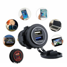 ATV Motorcycle Dual USB Quick Charger 3.0 Power Socket 2.4A Cable Waterproof 1x