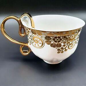 GRACE'S TEAWARE TEA CUP GOLD LACE DESIGN  GOLD BAND HANDLE FINE PORCELAIN