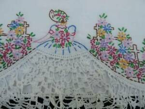 BEAUTIFUL PAIR VINTAGE PILLOWCASES~SOUTHERN BELLES~HAND EMBROIDERY & CROCHET