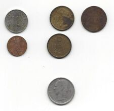 Lot of Six (6) Miscellaneous Foreign Coins, Denmark, China, Belgique???