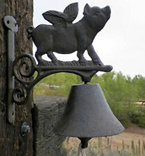 Flying Pig Bell Cast Iron Animals Call Bells Farm Outdoor Decor Collectibles NEW