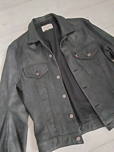 Levi's Product with Roots Leather Trucker Jacket - Black - Size S/M