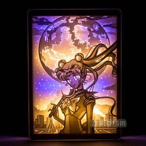 Sailor Moon Mercury Venus Table Lamp Shadow Paper Sculpture LED Night Light