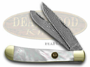 Hen & Rooster Damascus Genuine Mother of Pearl Trapper 312DAM/MOP Knife