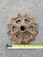 """Antique 7"""" Rusty Steel Farm Machinery Gear Sprocket Cog Steampunk Industrial"""