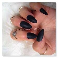 MATTE FALSE NAILS black, no shine, stiletto pointy, fake nails, press on nails