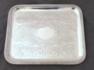 "CHRISTOFLE Gorgeous Antique Cocktail Tea Tray 15""x12"" - Late 19TH - ART NOUVEAU"