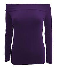 New Womens Off Shoulder Slash Neck Long Sleeve T-Shirts Tops 8-22