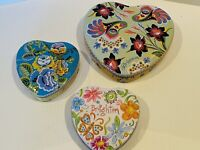 """Brighton Heart Boxes Lot of 3 with 2 Different Sizes 5.5"""" and 4"""" All Different"""