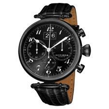 Akribos XXIV AK628BLK Quartz Chronograph Date Black Leather Strap Mens Watch