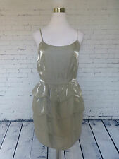 Forever 21 Silver Metallic Tiered Ruffles Sleeveless Cocktail Dress Size M
