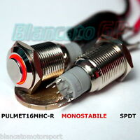 PULSANTE SPDT MONOSTABILE LED ROSSO 12V IP67 waterproof auto moto round switch