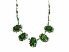 Vintage Baroque Style Emerald Green Crystal & Black Plated Collar Necklace N230