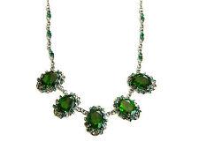 Vintage Barock Stil Smaragd Grün Kristall & schwarz plattiert Kragen-Halskette