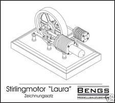 """Zeichnungssatz Bauplan Stirlingmotor """"Laura"""" Heißluftmotor Stirling"""