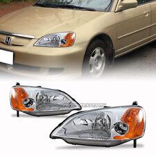 Chrome Housing Clear Lens Amber Corner Headlights For 01-03 Honda Civic 2 4 Door