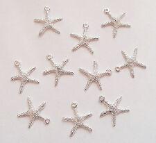 10 Starfish Charms, Starfish Sealife Pendants - 19,5mm - Metal Silver Plated