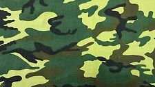 Camouflage Printed Cotton Army Fabric Black Brown Green