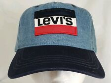 Levis Denim Baseball Cap Hat Embroidered Logo Big Patch Snapback  Blue Red Tab
