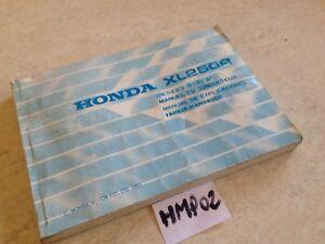 Manual Del Propietario Honda XL250R XLR 250 XL 250R Owner's Manual