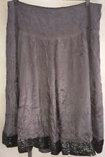 Monsoon Ladies Long Skirt Brown With Sequins Round The Edge Size 14<NH3224