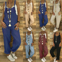 Women Plus Size Overalls Casual Loose Dungarees Romper Baggy Playsuit Jumpsuit Y