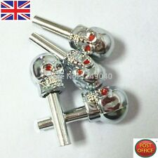 Set 4pcs Skull Door Lock Pins KNOBS with Red painted Eyes Car Vehicle part