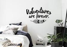 Adventures Are Forever Wall Decal Sticker Boho Bohemian Style with Feather