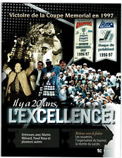 """2016 Hull (Gatineau) Olympiques, """"20 Years of Excellence"""", 16 pgs, French"""