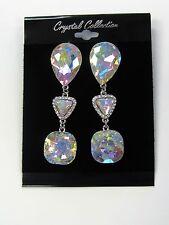 Silver Plated Iridescent Rhinestone Crystal Dangle Earrings # 22722 Bridal Prom